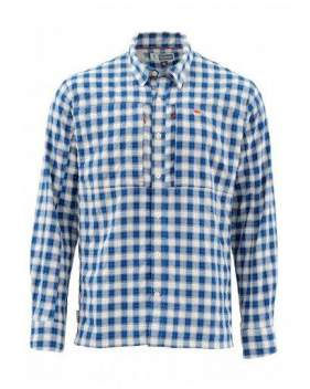 Рубашка Simms BugStopper LS Shirt, Plaid Admiral Blue