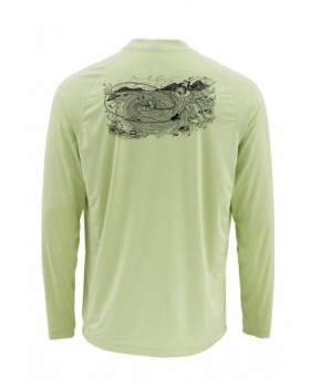 Футболка Simms Solarflex LS Crewneck - Graphic Print, Record Light Green