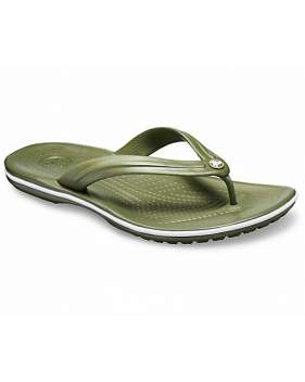 Шлёпанцы CROCS Crocband Flip Army Green-White