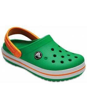 Сабо CROCS Crocband Clog K Grass Green-White-Blazing Orange