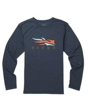 Футболка Sitka Logo Tee LS New, Eclipse Heather