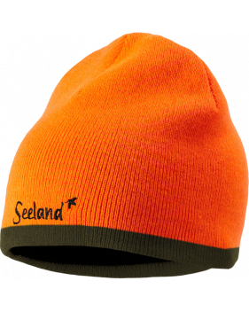 Шапка Seeland Ian Reversible Beanie, Hi-vis orange/Pine green