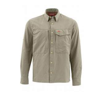 Рубашка Simms Guide LS Shirt - Solid, Dark Khaki