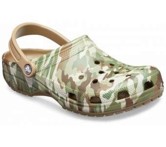 CROCS Classic Graphic II Clog Dark Camo Green-Khaki