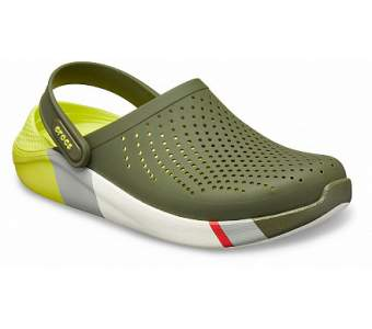 CROCS LiteRide Colorblock Clog Army Green-White