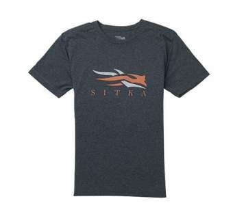 Sitka Logo Tee SS New, Heather Black