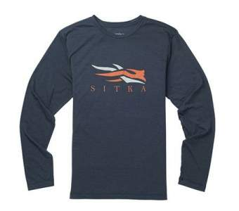 Sitka Logo Tee LS New, Eclipse Heather
