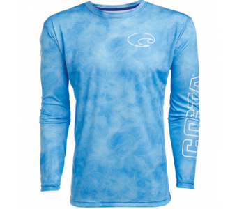 Costa TECHNICAL TOPOGRAPHIC LS SHIRT, Blue