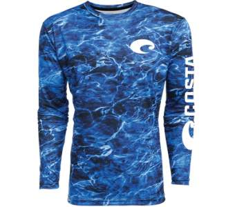 Costa TECHNICAL MOSSY OAK ELEMENTS LS SHIRT, Camo Blue
