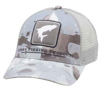 Simms Trout Icon Trucker, Cloud Camo Grey