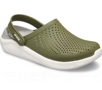 CROCS LiteRide Colorblock Clog Army Green-White New