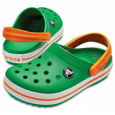 CROCS Crocband Clog K Grass Green-White-Blazing Orange