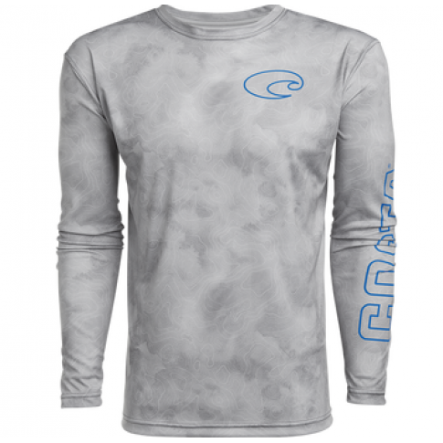 Costa TECHNICAL TOPOGRAPHIC LS SHIRT, Gray
