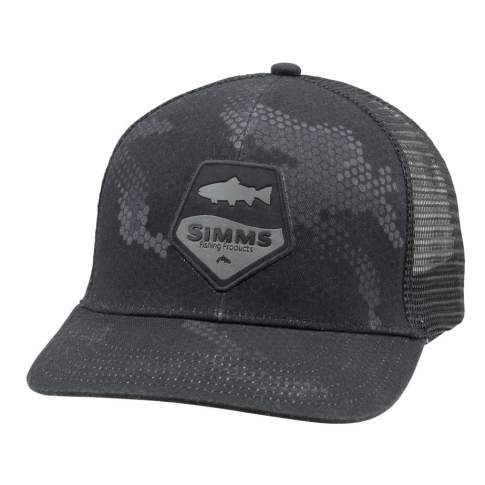 Simms Trout Patch Trucker, Hex Camo Carbon