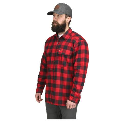 Simms Coldweather LS Shirt, Red Buffalo Plaid