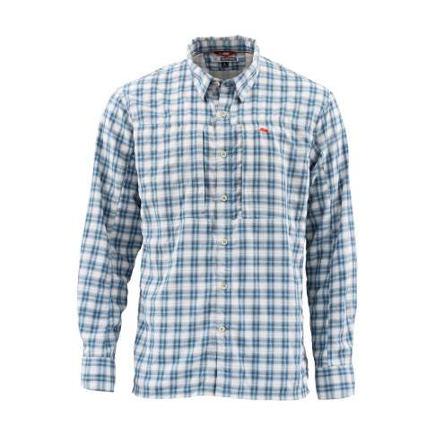 Simms BugStopper LS Shirt, Faded Denim Plaid