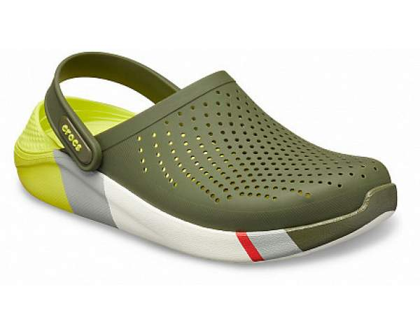 Сабо CROCS LiteRide Colorblock Clog Army Green-White